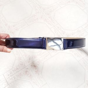 NWOT EXPRESS Blue S/M Faux Patent Adjustable Belt